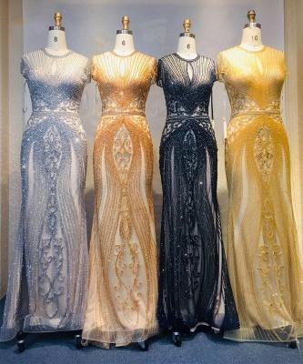 Luxury Cap Sleeves Keyhole Rhinestones Mermaid Prom Dresses | Gorgeous Beaded Evening Dress_36