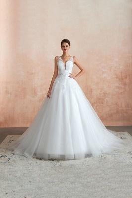 Floor Length V-neck Straps Cheap A-line Lace Tulle Wedding Dresses_9