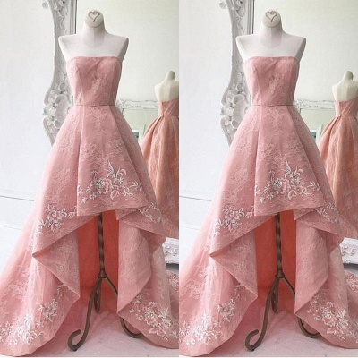 Lace High-Low Strapless Exquisite A-Line Embroidery Prom Dresses_2