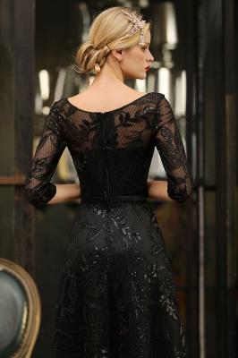 A-line Round Neckline Sexy Lace Prom Dresses | Black Evening Dresses_10