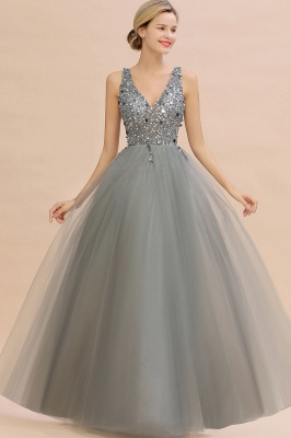 Sleeveless A-line Sequin Tulle Prom Dresses | Cheap Evening Dress_9