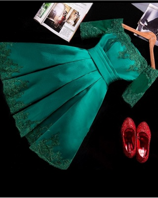 Charming Short Lace Appliques Half-Sleeve Green Homecoming Dress_2