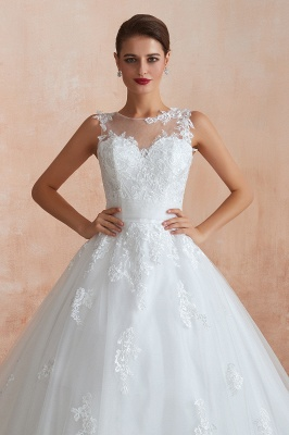 Floor Length Bateau Sleeveless Buttons Lace Tulle Puffy Wedding Dresses_6