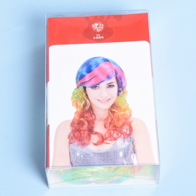 Rainbow Long Wavy Curly Wig for Women_3