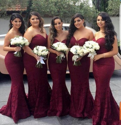 Burgundy Long Sweetheart-Neck Lace Mermaid Bridesmaid Dress_3