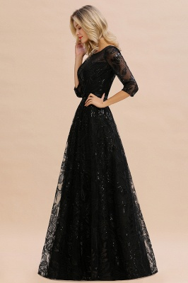 A-line Round Neckline Sexy Lace Prom Dresses | Black Evening Dresses_6