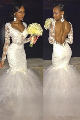 Backless Long-Sleeves Lace Sexy Mermaid Wedding Dress_2