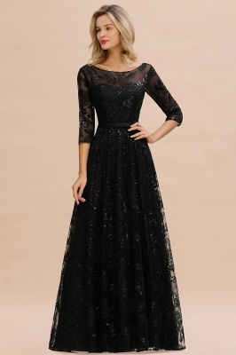 A-line Round Neckline Sexy Lace Prom Dresses | Black Evening Dresses_2