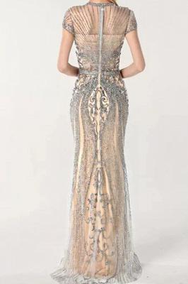 Luxury Cap Sleeves Keyhole Rhinestones Mermaid Prom Dresses | Gorgeous Beaded Evening Dress_9