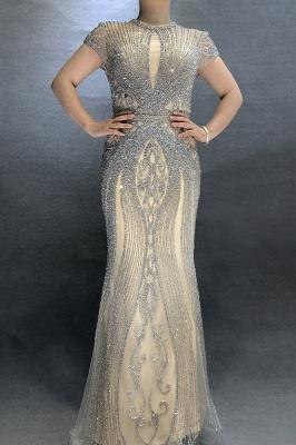 Luxury Cap Sleeves Keyhole Rhinestones Mermaid Prom Dresses | Gorgeous Beaded Evening Dress_10