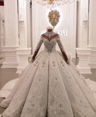 Luxury High Neck Long Sleeves Crystal Ball Gown Wedding Dress | Haute Couture Bridal Gowns_1
