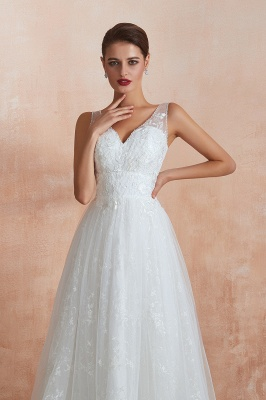 Floor Length Straps V-neck Sexy A-line Lace Tulle Wedding Dresses_6