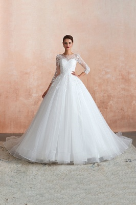 Floor Length Crew A-line Lace Tulle Wedding Dresses with Long Sleeves_2