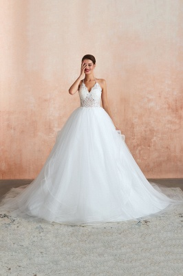 Halter Backless Sexy Cheap Ball Gown Wedding Dresses | Affordable Tulle Bridal Gowns_4