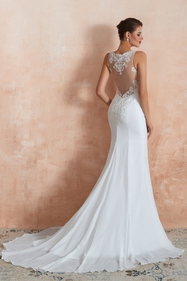Sweep Train Crew Form-fitting Lace Wedding Dresses |Sleeveless Sheath Bridal Gown_11