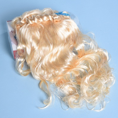 Gold Long Wavy Realistic Synthetic Hair Wig_7