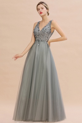 Sleeveless A-line Sequin Tulle Prom Dresses | Cheap Evening Dress_8