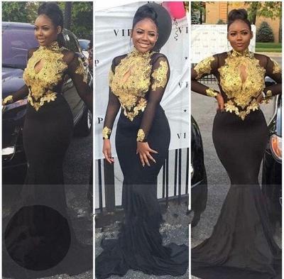 Gold-Appliques Elegant Long-Sleeves Backless High-Neck Prom Dresses_4