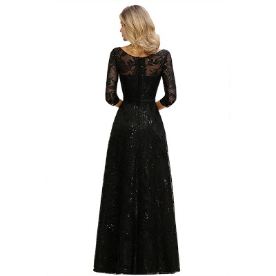 A-line Round Neckline Sexy Lace Prom Dresses | Black Evening Dresses_13