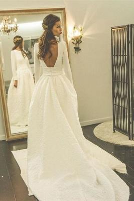 Long Sleeves Jewel A-line Modern Sweep Train Wedding Dress_2