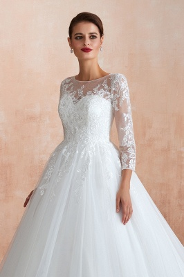 Floor Length Crew A-line Lace Tulle Wedding Dresses with Long Sleeves_11