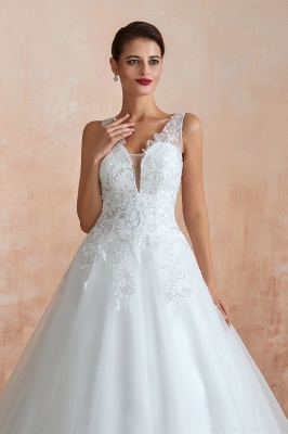 Floor Length V-neck Straps Cheap A-line Lace Tulle Wedding Dresses_5