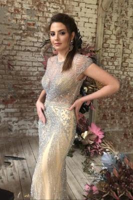 Luxury Cap Sleeves Keyhole Rhinestones Mermaid Prom Dresses | Gorgeous Beaded Evening Dress_13