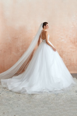Halter Backless Sexy Cheap Ball Gown Wedding Dresses | Affordable Tulle Bridal Gowns_10