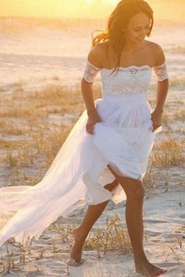 Sleeveless Floor-Length Off-the-Shoulder Lace Chiffon Wedding Dresses_2