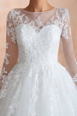 Floor Length Crew A-line Lace Tulle Wedding Dresses with Long Sleeves_9