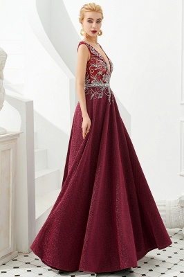Straps Deep V-neck Beaded Sexy Long Prom Dresses | Elegant Floor Length Evening Dresses_7