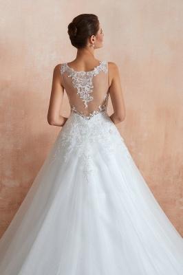 Floor Length V-neck Straps Cheap A-line Lace Tulle Wedding Dresses_7