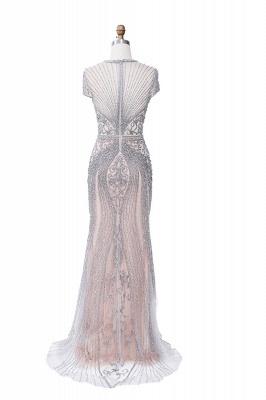 Luxury Cap Sleeves Keyhole Rhinestones Mermaid Prom Dresses | Gorgeous Beaded Evening Dress_30
