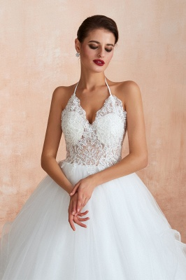 Halter Backless Sexy Cheap Ball Gown Wedding Dresses | Affordable Tulle Bridal Gowns_6