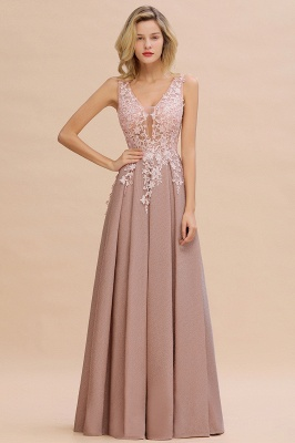 Elegant Sleeveless V-neck Floor Length Appliques Prom Dresses | Cheap Backless Evening Dresses_15