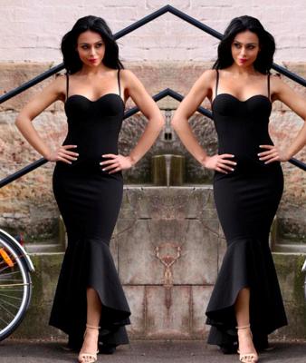 Sweetheart High-Low Spaghetti Mermaid Black Straps Women Dress_3