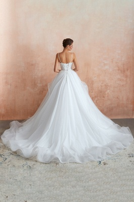 Spaghetti Straps V-neck Lace Organza Tiered A-line Sexy Wedding Dresses_10