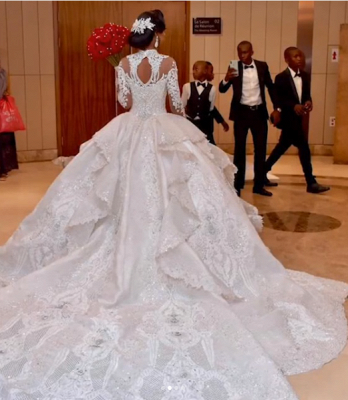 Luxury High Neck Long Sleeves Crystal Ball Gown Wedding Dress | Haute Couture Bridal Gowns_3