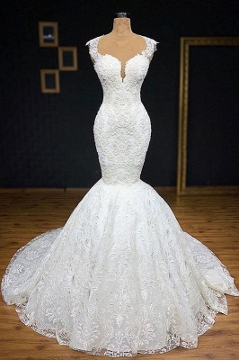 Glamorous Straps Appliques Backless Sexy Mermaid Bridal Gown_1