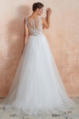 Sheer Top Bateau Sleeveless Floor Length A-line Tulle Wedding Dresses_7