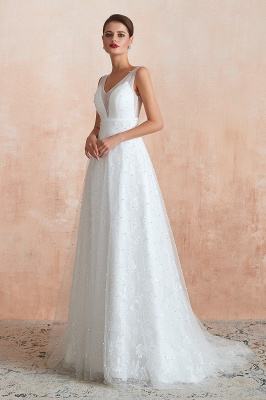 Floor Length Straps V-neck Backless A-line Wedding Dresses   Cheap Tulle Bridal Gowns_4
