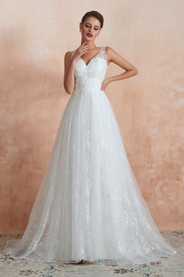 Floor Length Straps V-neck Sexy A-line Lace Tulle Wedding Dresses_2