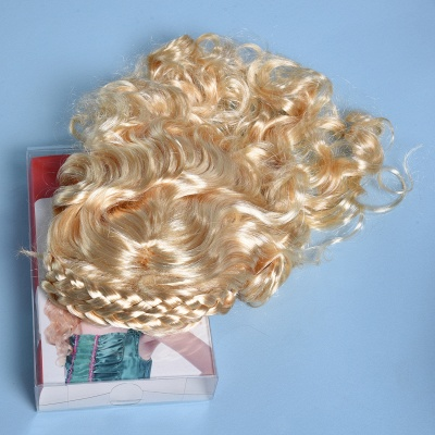Gold Long Wavy Curly Cosplay Wigs for Girl_3