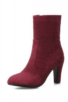 Chunky Heel Working Suede Square Boots On Sale_1