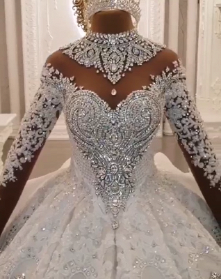 Luxury High Neck Long Sleeves Crystal Ball Gown Wedding Dress | Haute Couture Bridal Gowns_7