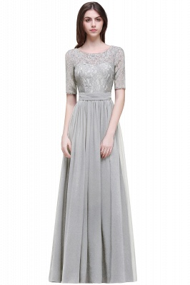 Cheap Half-Sleeve Lace Long Chiffon Evening Dress in Stock_8