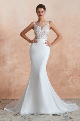 Sweep Train Crew Form-fitting Lace Wedding Dresses |Sleeveless Sheath Bridal Gown_3
