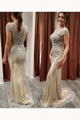 Luxury Cap Sleeves Keyhole Rhinestones Mermaid Prom Dresses | Gorgeous Beaded Evening Dress_18
