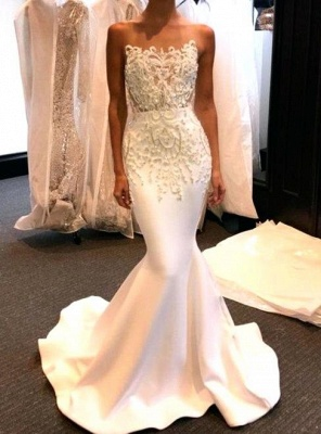 Shiny White Prom Dresses Long Sleeveless Beading Mermaid Formal Gowns_2
