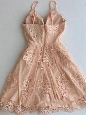 Spaghetti-Strap Zipper Cute Sleeveless Lace Short Homecoming Dress_3
